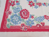 Red Blue Dahlias on Sheeting Floral Vintage Printed Tablecloth (71 X 55)