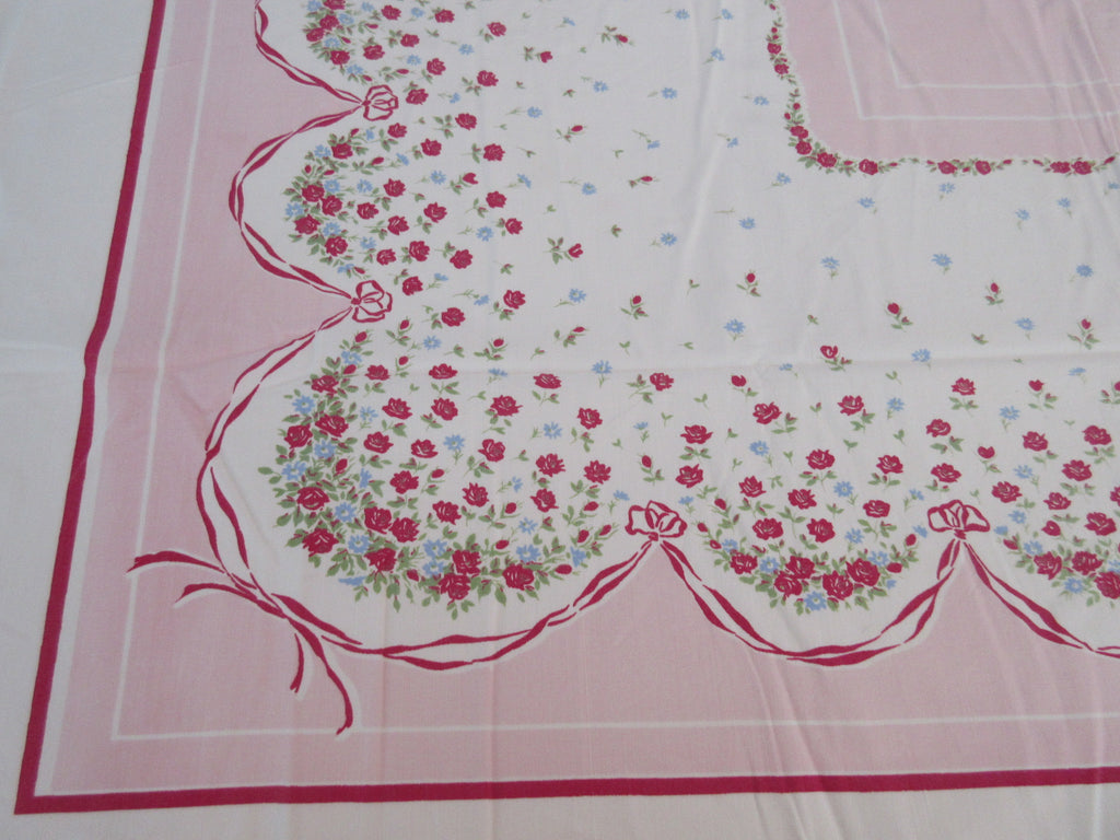 Shabby Petite Red Roses on Pink Floral Vintage Printed Tablecloth (50 X 43)