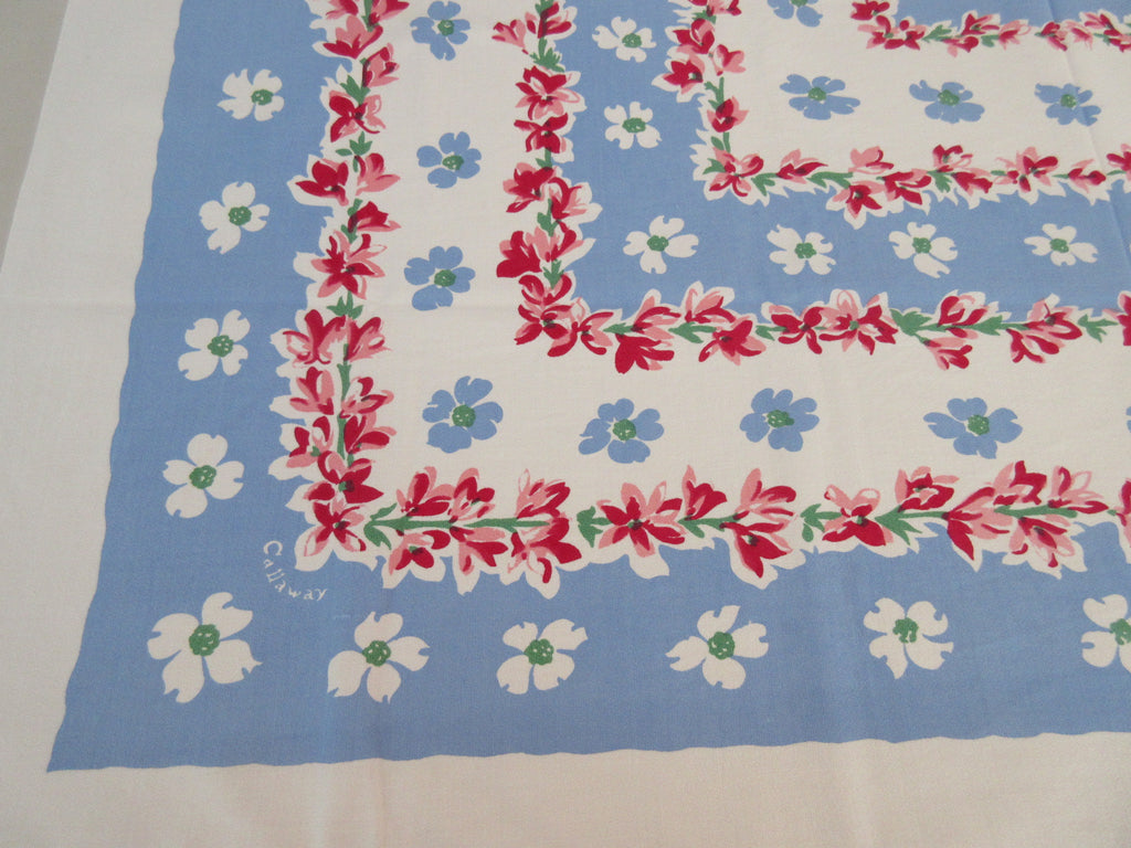 Callaway Pink Dogwood Blossoms on Blue Floral Vintage Printed Tablecloth (49 X 47)