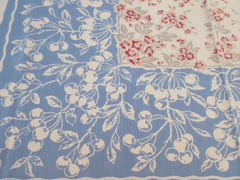 Callaway Peach Cherry Blossoms Cherries on Blue Fruit Vintage Printed Tablecloth (52 X 47)