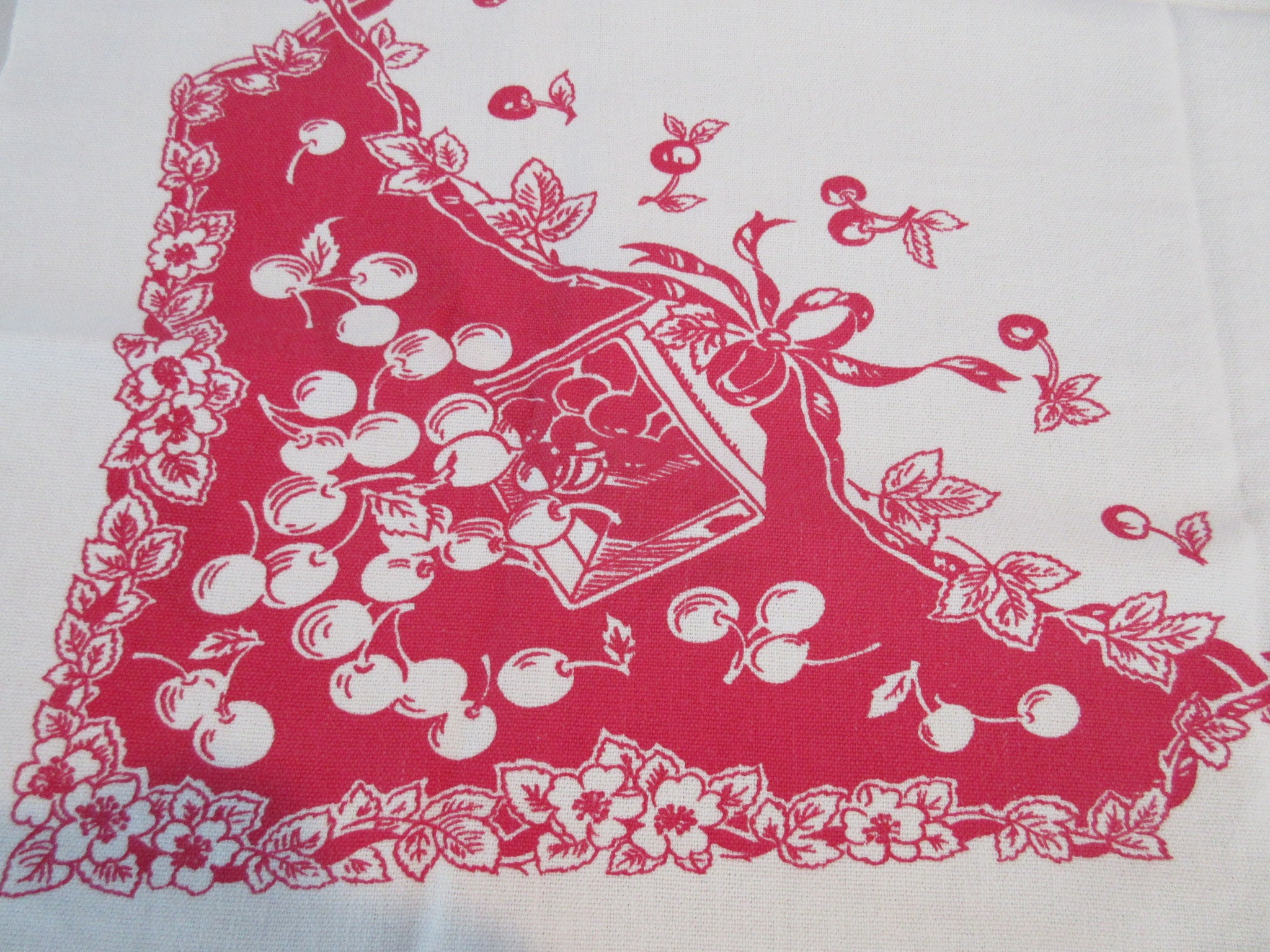 Reverse Printed Fruit on Red Topper Vintage Printed Tablecloth (36 X 29)