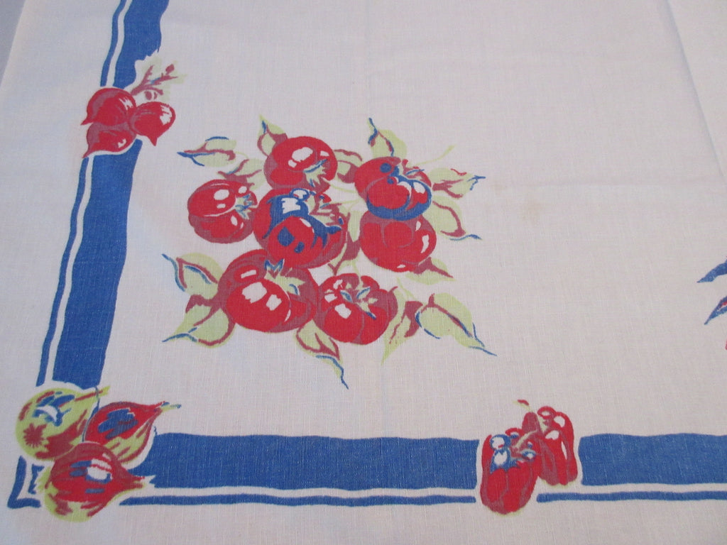 Early Victory Garden Primary Fruit Vegetables on Blue Vintage Printed Tablecloth (48 X 46)