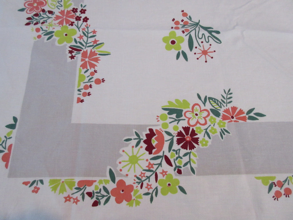 Mod Flowers on Gray Simtex Floral Vintage Printed Tablecloth (50 X 48)