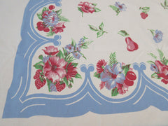 Pastel Fruit Flowers on French Blue Floral Vintage Printed Tablecloth (70 X 54)
