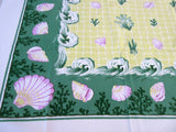 HTF Parisian Prints Shells Embellished Novelty Vintage Printed Tablecloth (53 X 46)