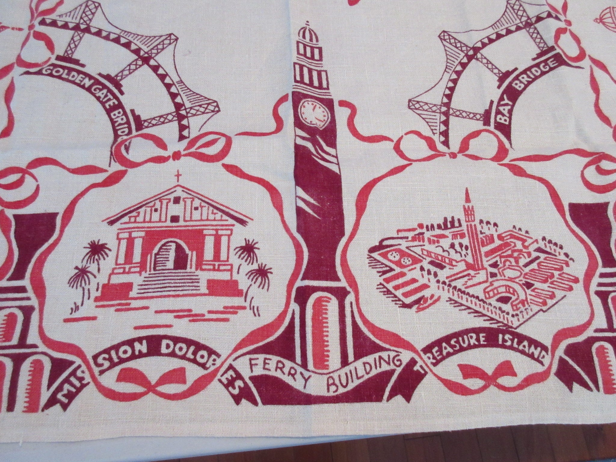 Rare 1939 International Expo California State Souvenir Novelty Vintage Printed Tablecloth (33 X 33)