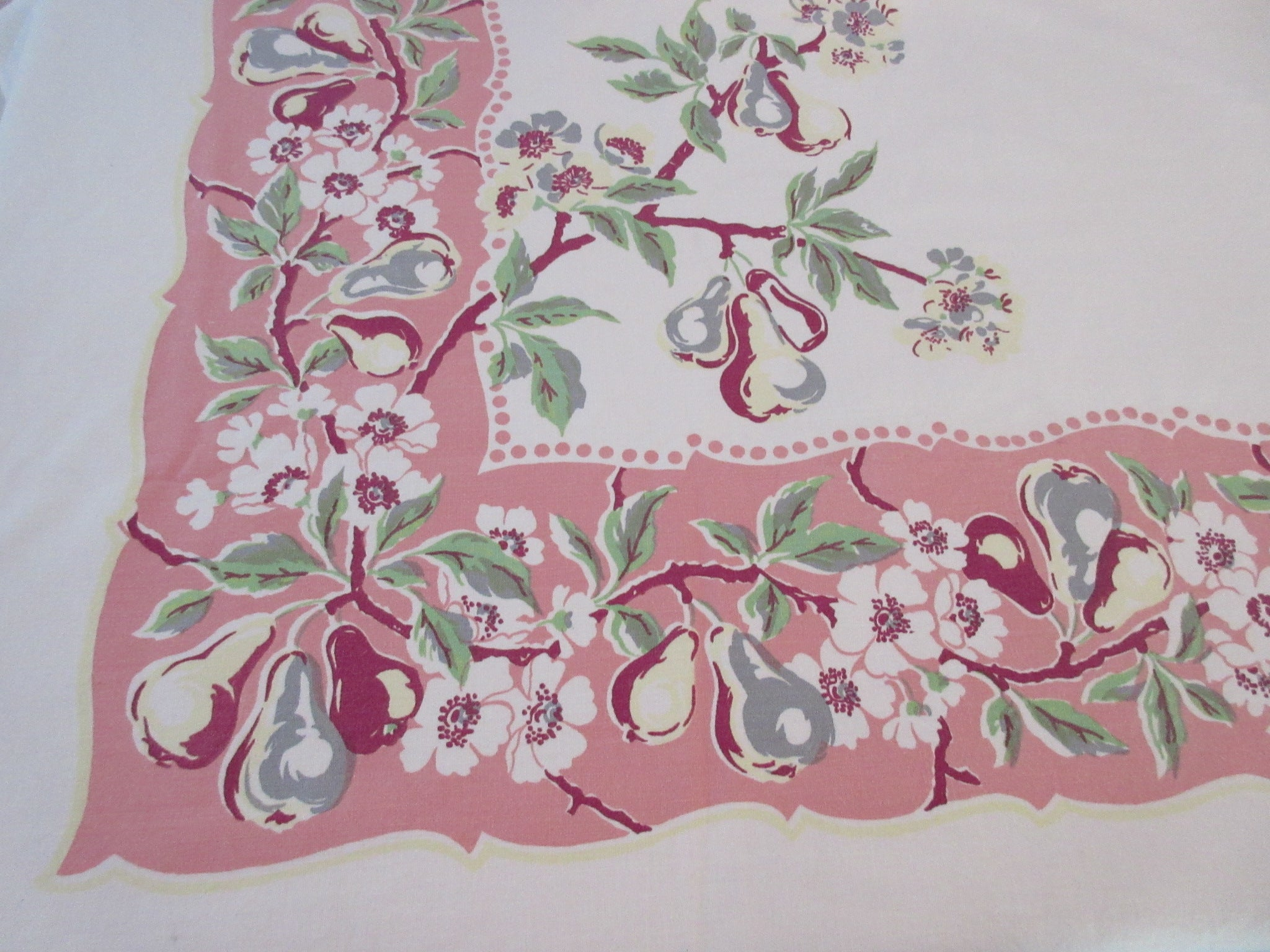 Large Heavier Pears on Pink Fruit Vintage Printed Tablecloth (72 X 54)