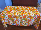 Terry Mod Orange Green Floral MWT Vintage Printed Tablecloth (68 X 55)