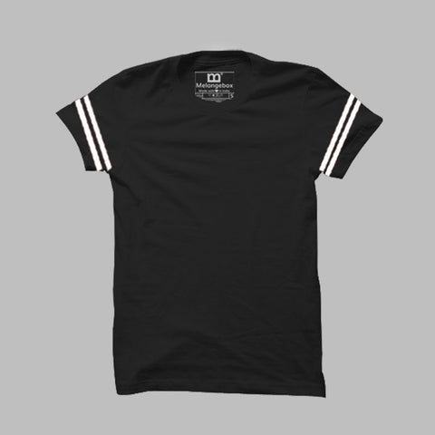 Black Dual Stripes Premium Crew Neck Tee
