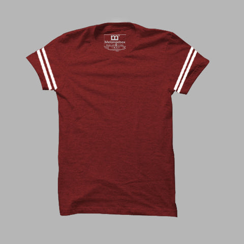 Half Sleeves: Maroon Melange Dual Stripes