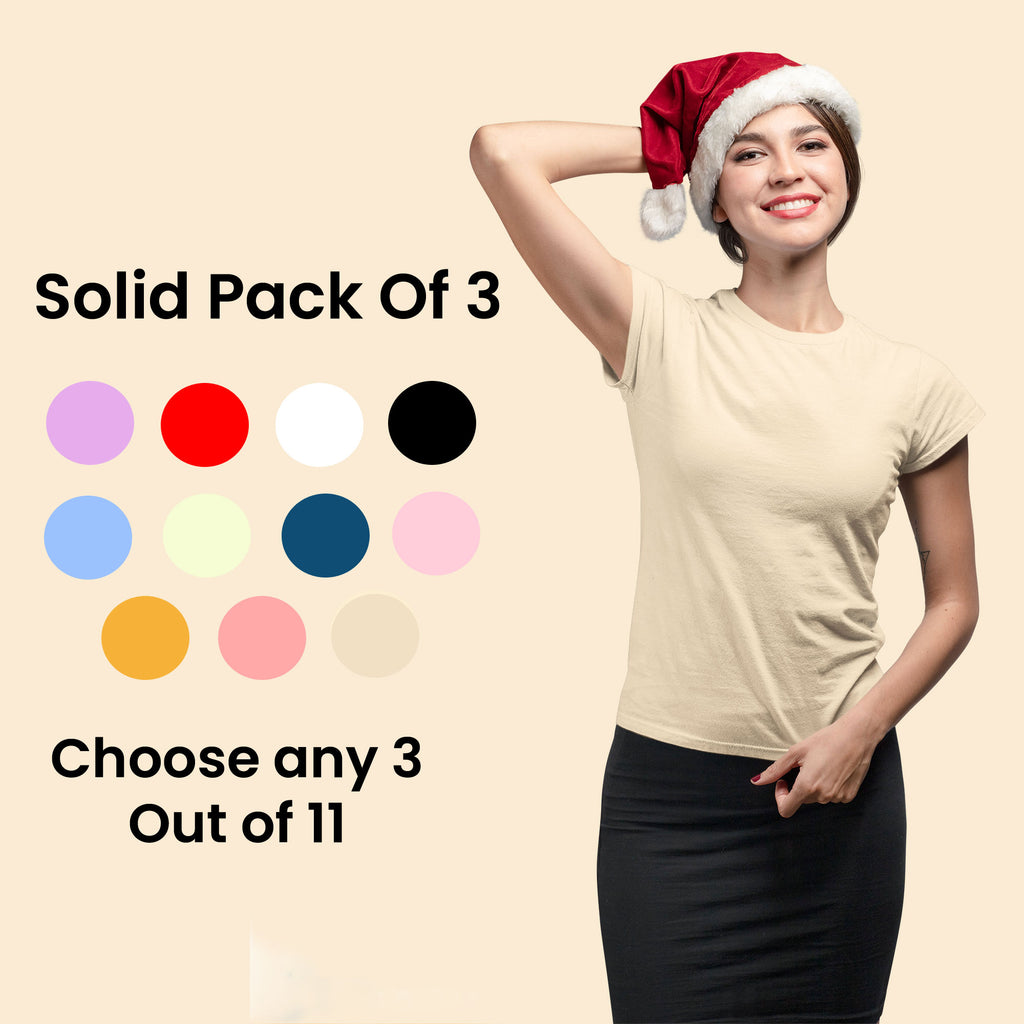 Solid Pack Of 3: Women Crew Neck Top