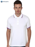 Striped Collar Basic White Premium Polo Tee