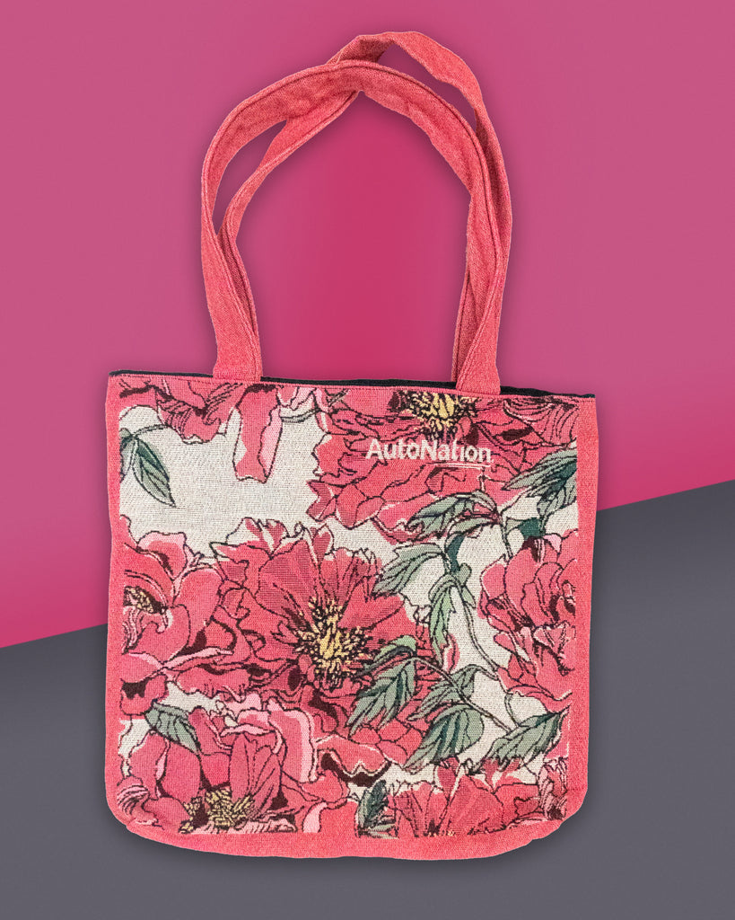 AutoNation Flowered Woven Tote