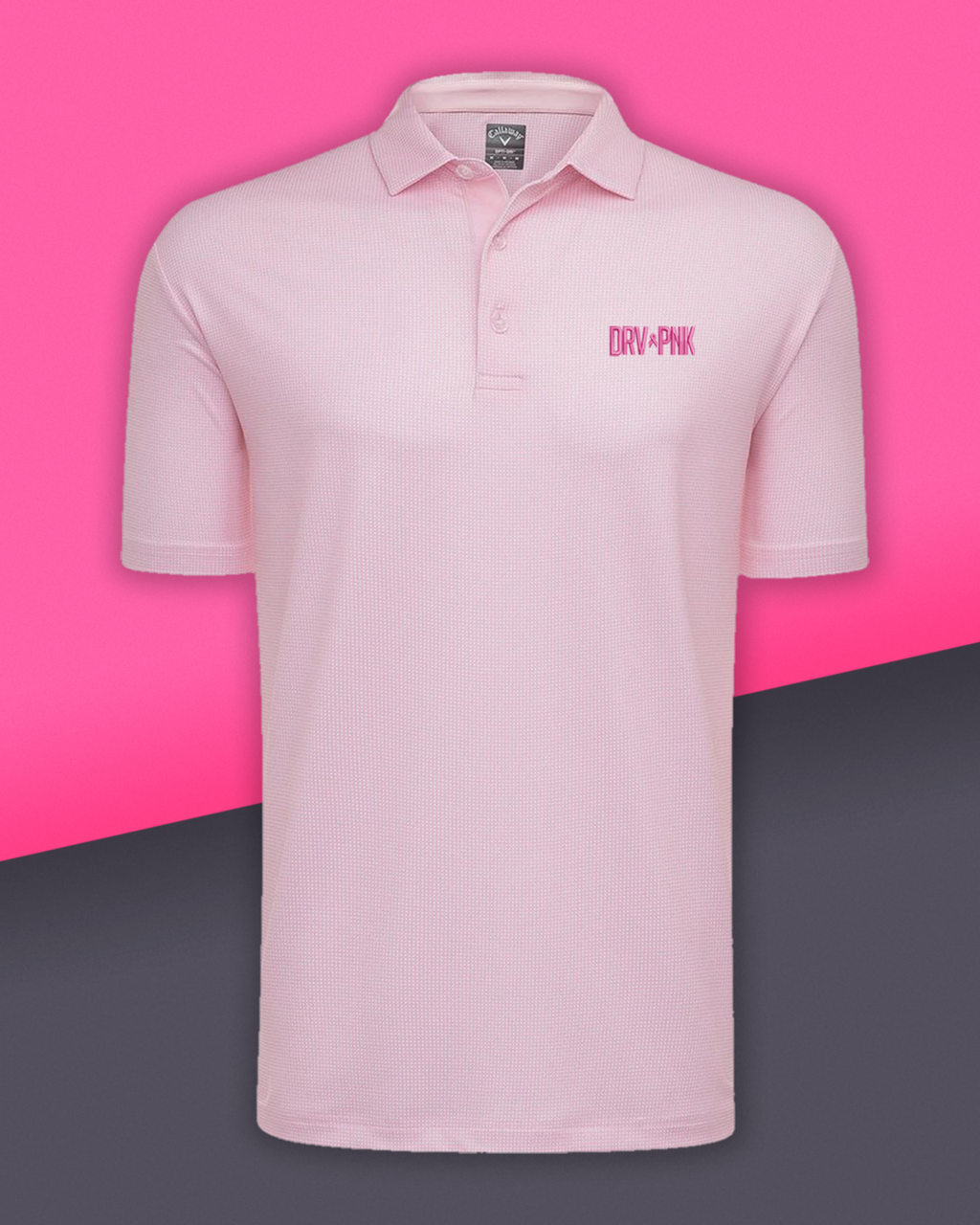 Calloway - Men's Drive Pink Gingham Golf Polo - Pink