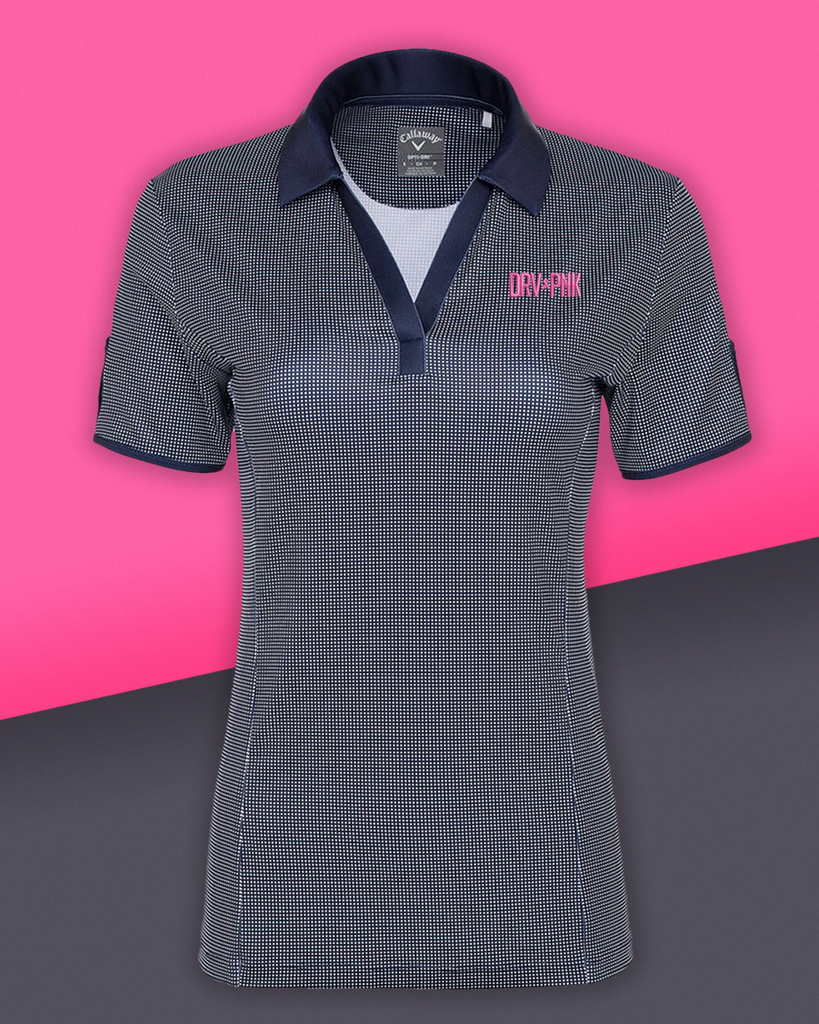 Callaway - Ladies' Gingham Drive Pink Golf Polo - Navy