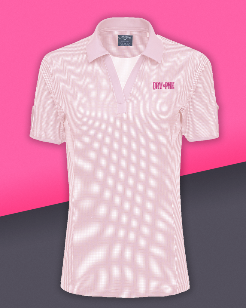 Callaway - Ladies' Gingham Drive Pink Golf Polo - Pink