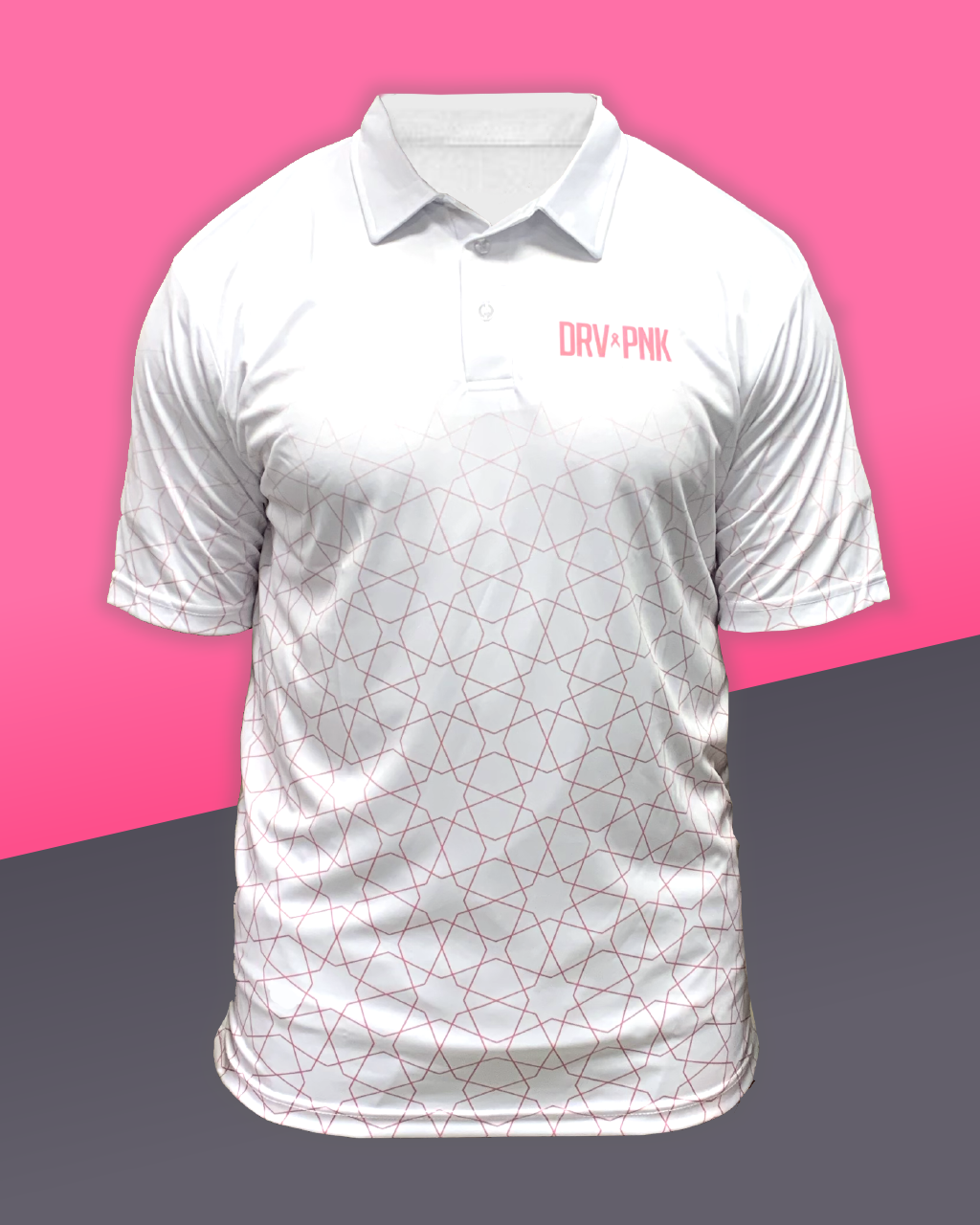 Drive Pink Star Polo - White+Pink