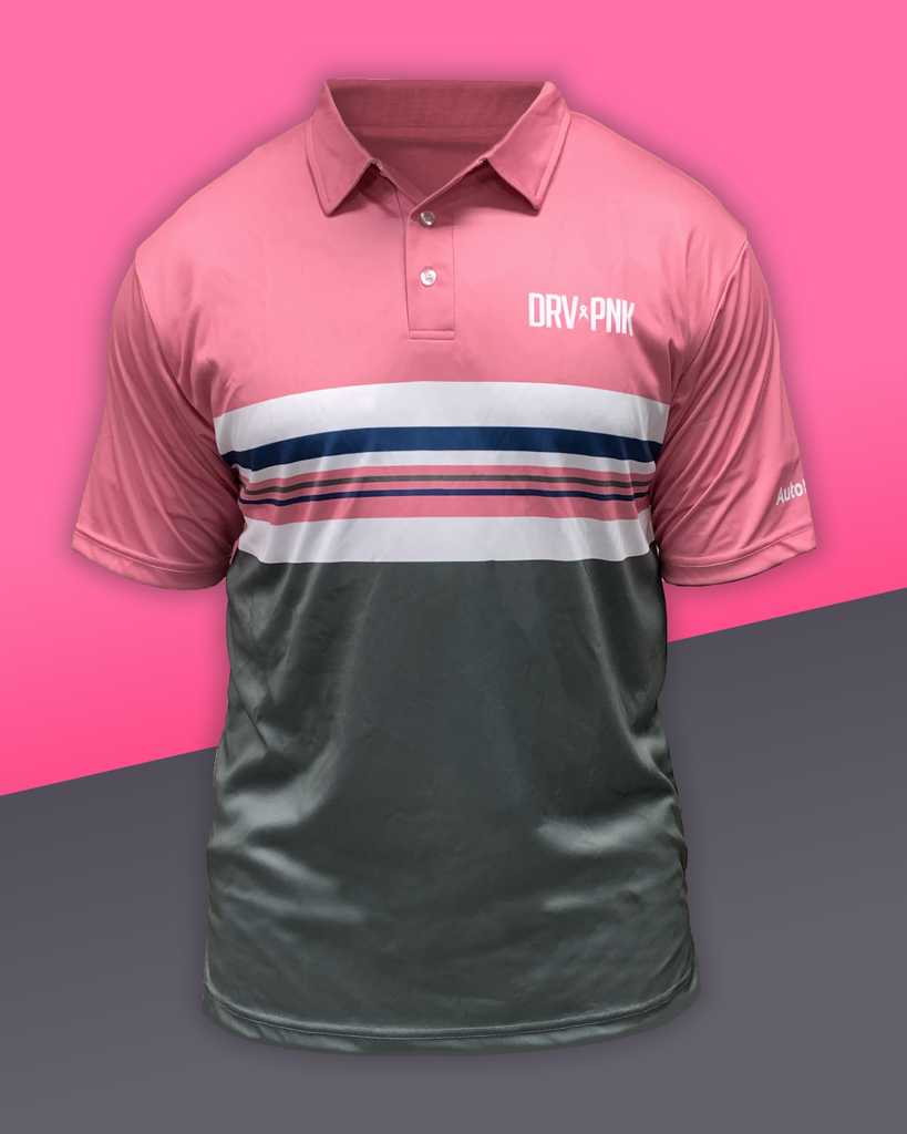 Drive Pink Striped Polo - Pink+Grey