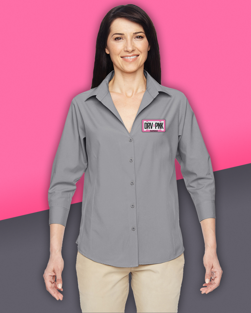 AutoNation - Harriton Ladies' Paradise 3/4-Sleeve Performance Shirt - Dark Grey