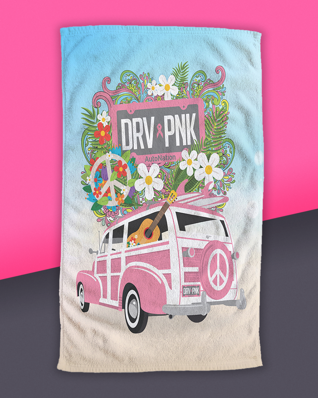 "Drive Pink - Woody Beach Towel (30"" x 60"")"