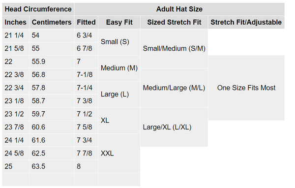 adult hat sizing chart