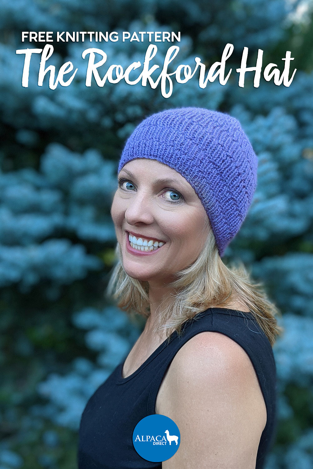 Photo of a woman wearing a knitted purple Rockford Hat with an evergreen tree in the background.