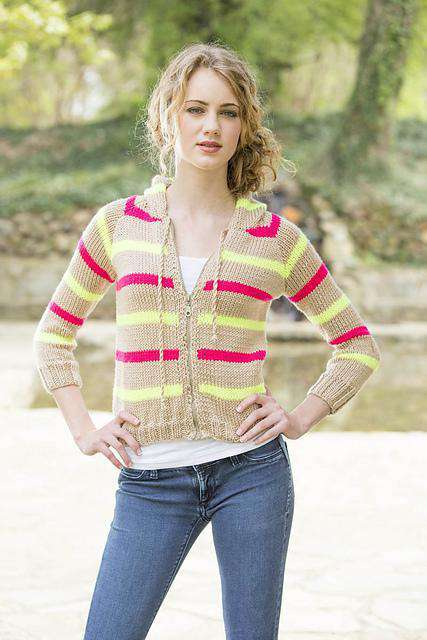 Neon Striped Hoodie by Universal Yarn-Patterns-Universal Yarns-Alpaca Direct