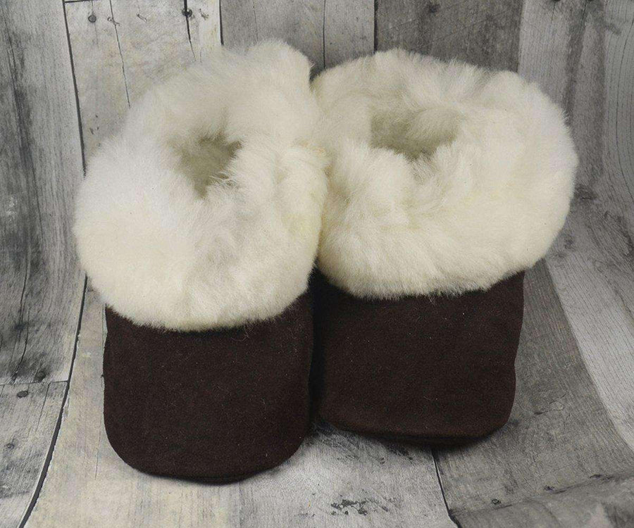 Alpaca Leather Bootie Slippers with Fur Lining-Apparel-Alpaca Direct-Small-Fawn-Alpaca Direct