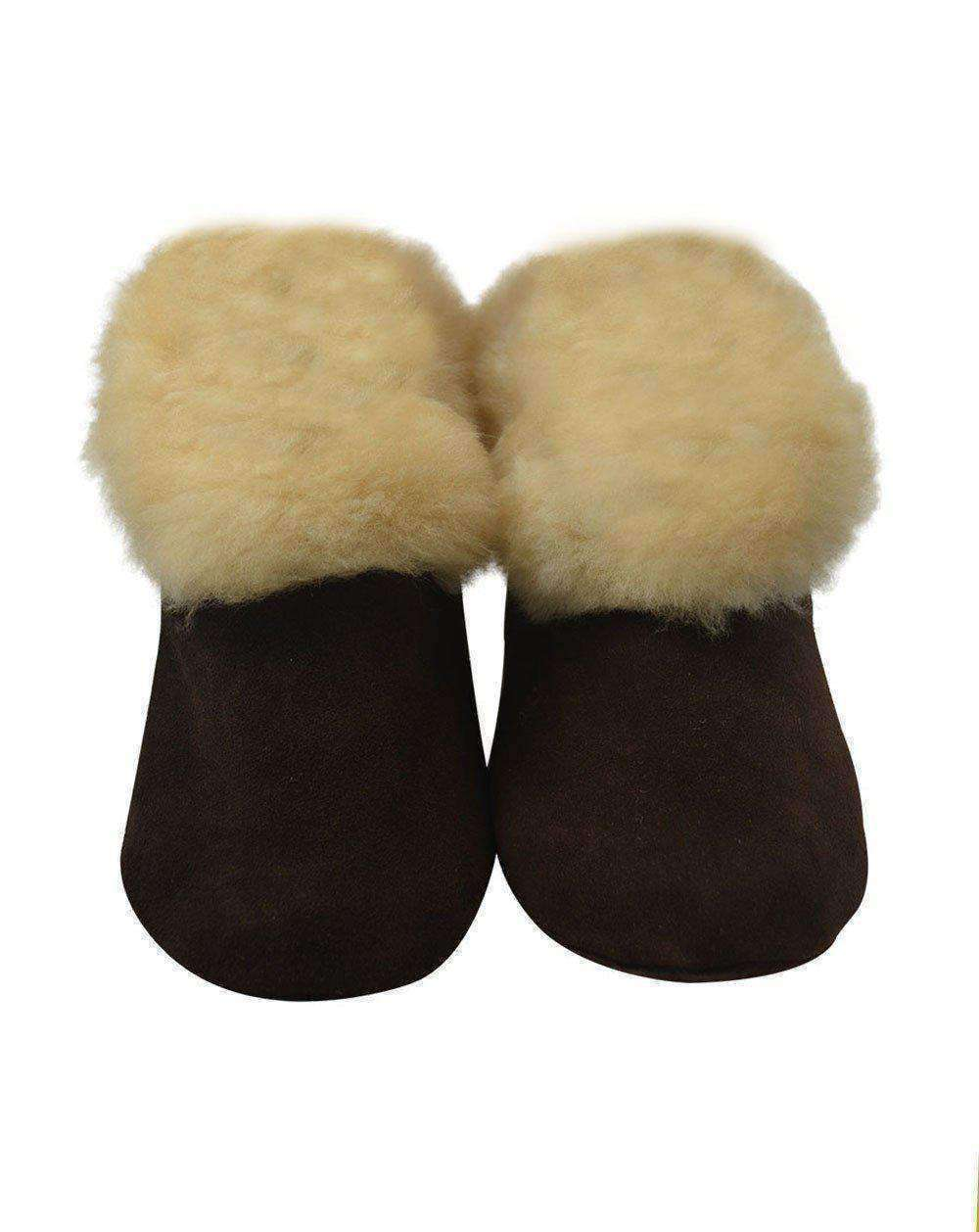 Alpaca Leather Bootie Slippers with Fur Lining - Dark Chocolate Suede
