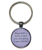 Mess With A Knitter And You Are Going To Get Stitches Keychain-Notions-Alpaca Direct-Purple-Alpaca Direct