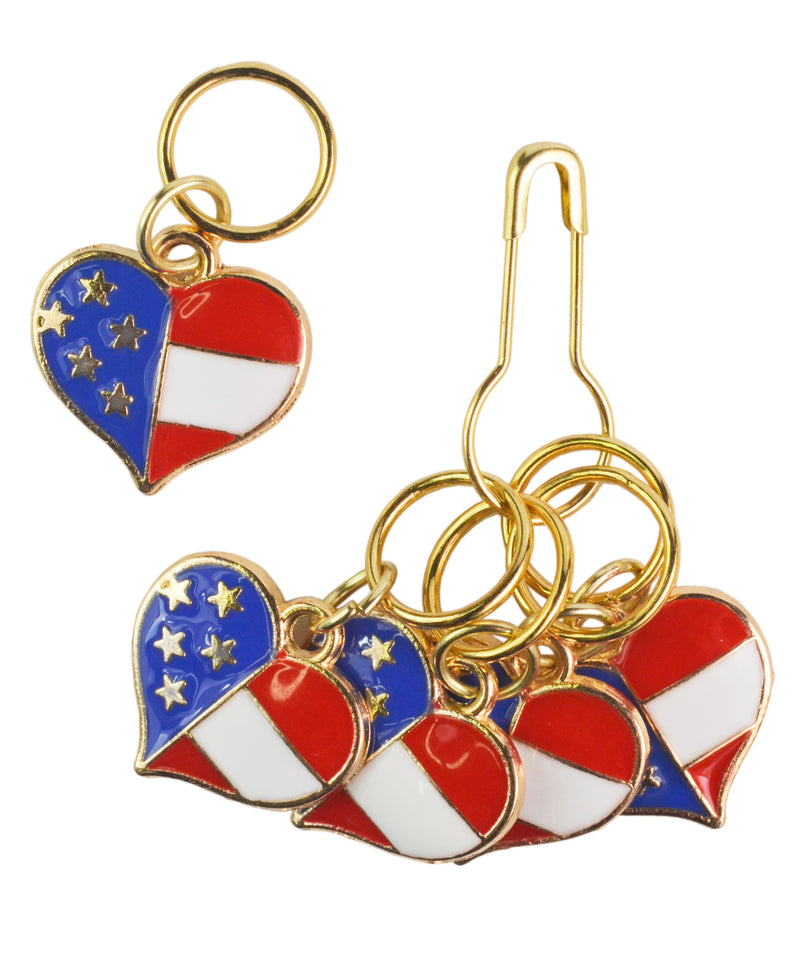 American Hearts Stitch Markers