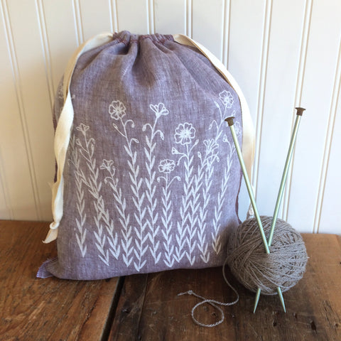 Large Organic Linen Drawstring Bag - Flax