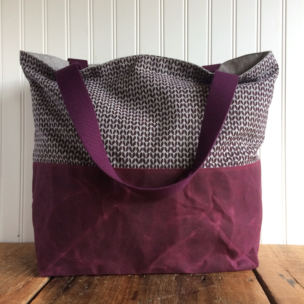 Beeswaxed Bottom Tote Bag - Plum
