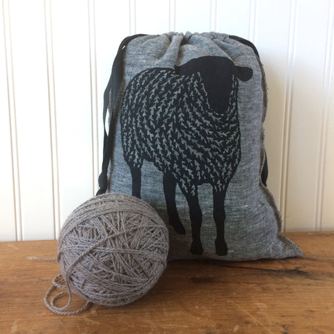 Medium Yarn Dyed Drawstring Bag - Black Sheep