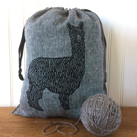 Large Yarn Dyed Drawstring Bag - Alpaca