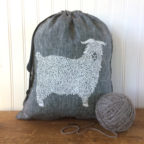 Large Yarn Dyed Drawstring Bag - Angora Goat