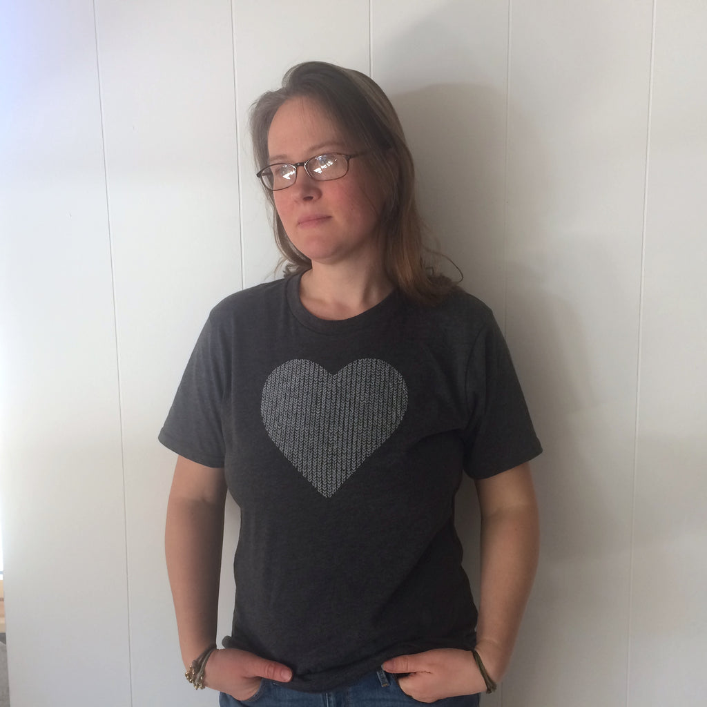 Knit Stitch Heart Tee Shirt