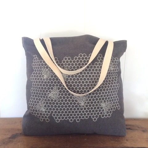 Honeycomb Tote Bag - Brown