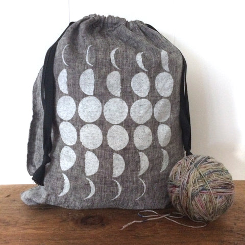 Large Organic Linen Drawstring Bag - Phases of the Moon