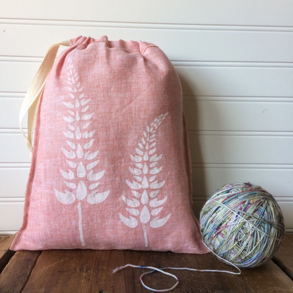 Medium Organic Linen Drawstring Bag - Lupine