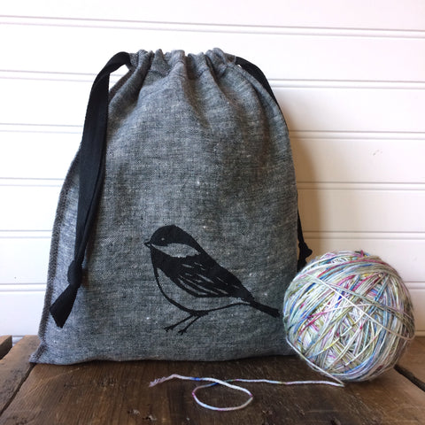 Medium Organic Linen Drawstring Bag - Chickadee