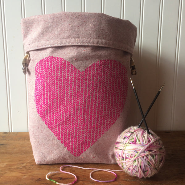 Love in Every Stitch Trundle Bag - Hot Pink