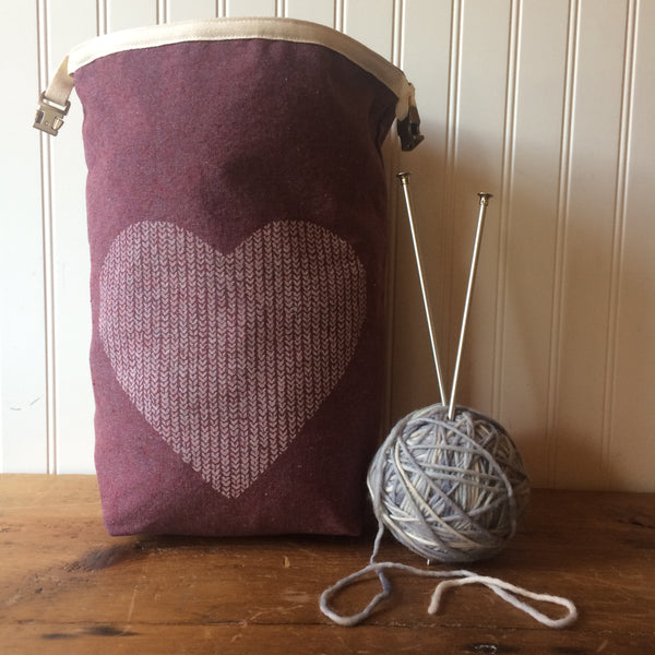 Love in Every Stitch Trundle Bag - Burgundy