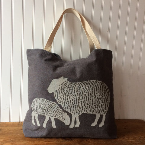 Sheep Tote Bag - Brown