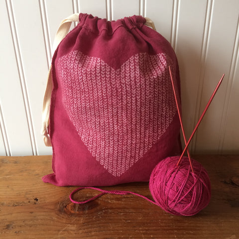 Love in Every Stitch Drawstring Bag - Medium