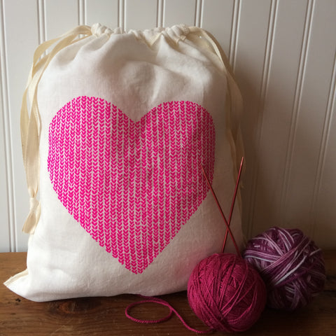 Love in Every Stitch Drawstring Bag - Large