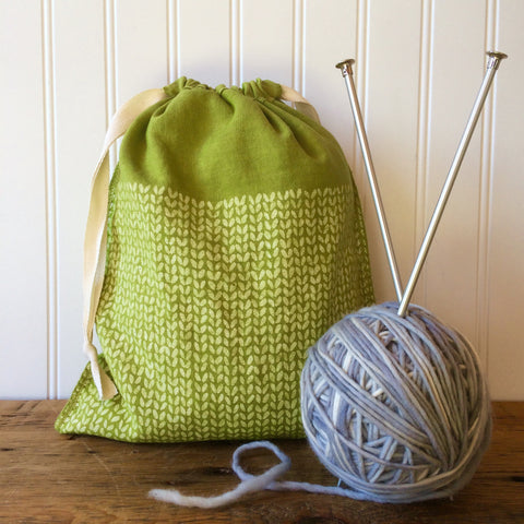 Knit Stitch Drawstring Bag