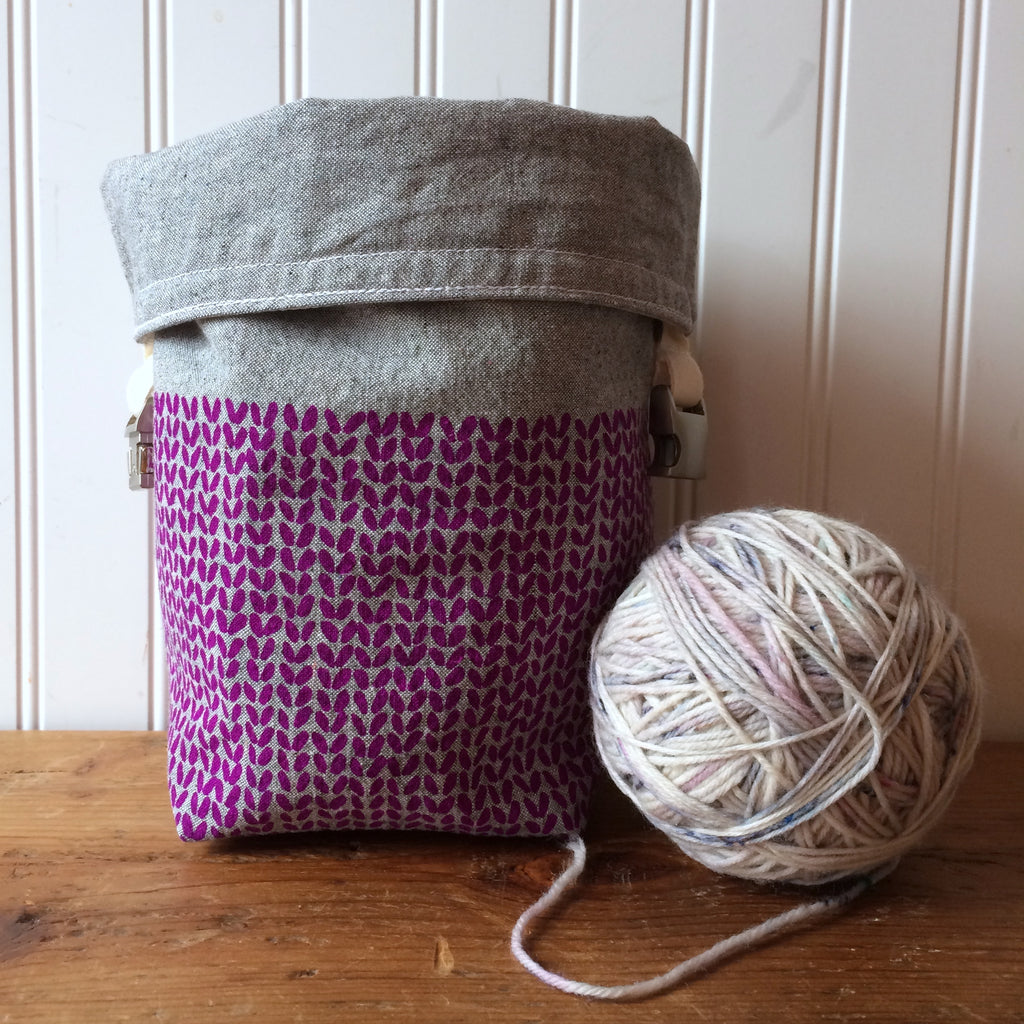 Knit Stitch Mini Trundle Bag- Purple