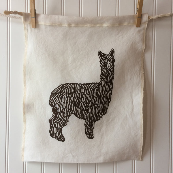 Alpaca Drawstring Bag - Brown