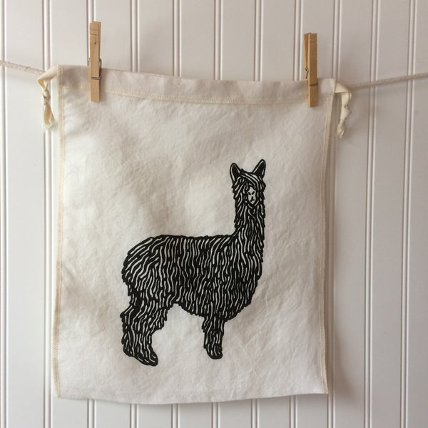 Alpaca Drawstring Bag - Black